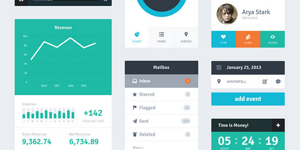 flat dashboard ui design psd