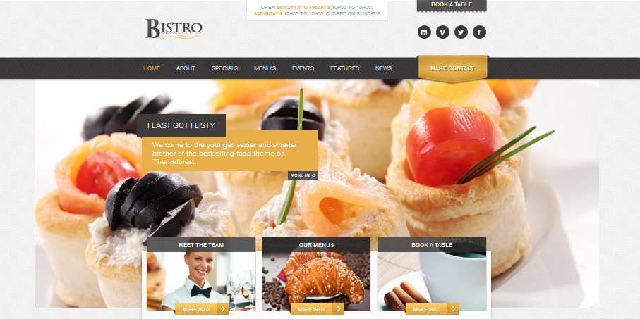 responsive wordpress restaurant themes 2013