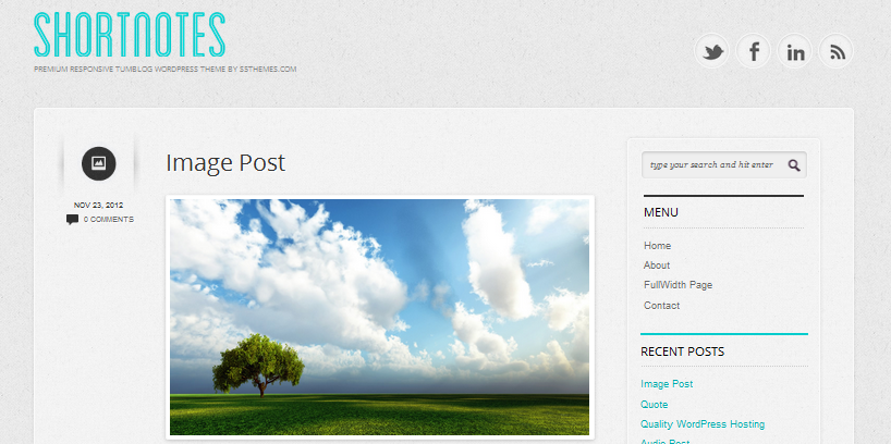 shortnotes wordpress theme