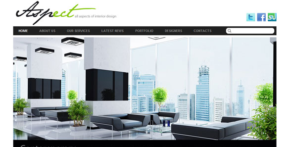 aspect wordpress theme for interior designers