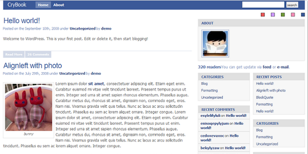 crybook facebook style buddypress theme