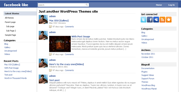 facebook like wordpress theme