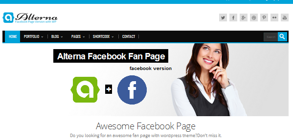 fixed header wordpress theme with facebook fan page