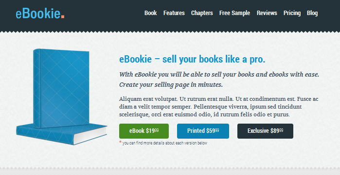 one page wordpress theme for selling ebooks