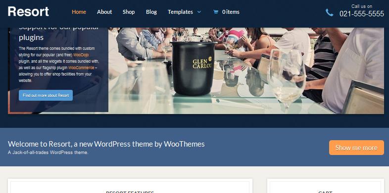 resort fixed header  wordpress theme
