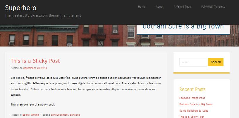 superhero fixed header  wordpress theme