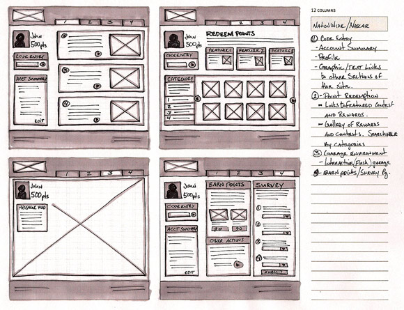 wireframe & mockup sketches 01