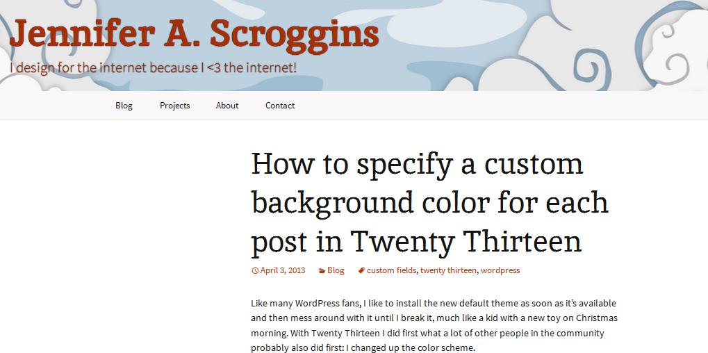 how to customize twenty thirteen theme 3