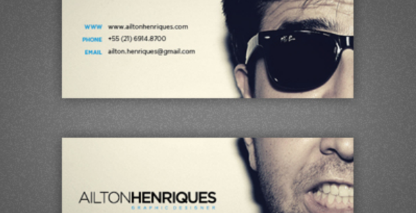 business card with headshots