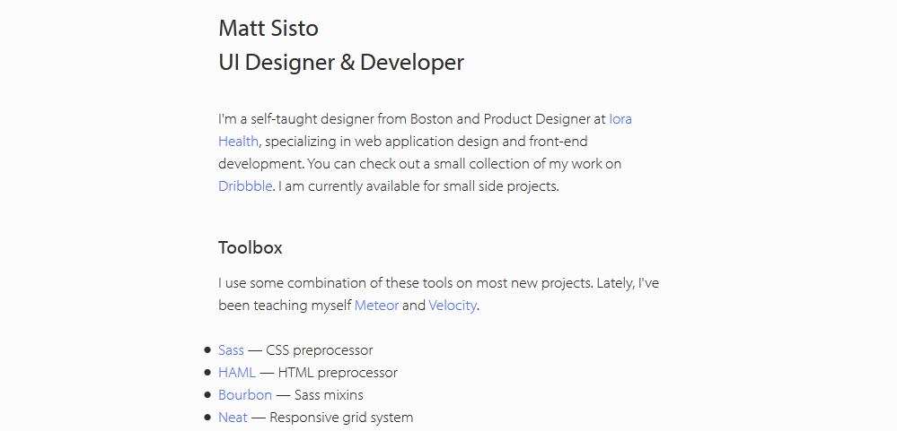 website portfolio for developer