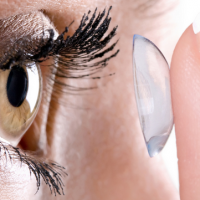 glass contact or lens