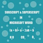 Word: how to do subscript and superscript
