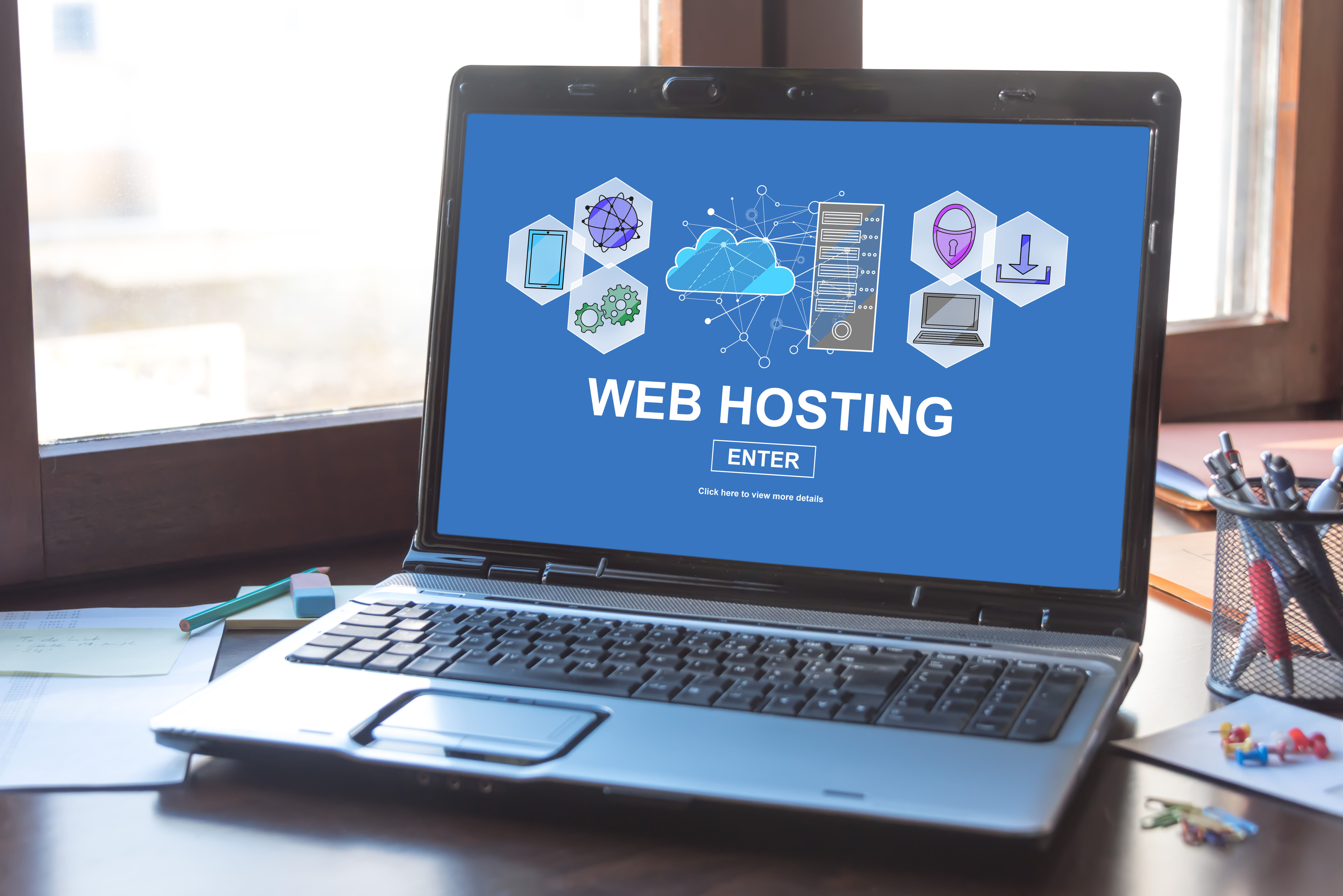 Laptop screen displaying a hosting concept